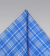 Bright Blue Check Pocket Square