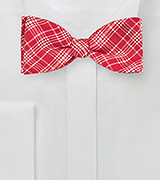 Bright Red Silk Bow Tie with Modern Plaid Design
