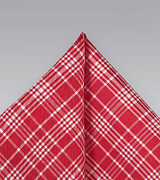Bold Red Plaid Pocket Square