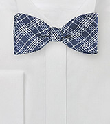 Navy and Silver Check Bow Tie
