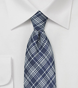 Modern Tartan Plaid Silk Tie in Navy