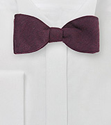 Solid Burgundy Bow Tie in Wool