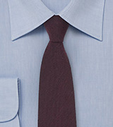 Skinny Wool Tie in Deep Burgundy