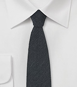 Skinny Wool Necktie in Smoke Gray