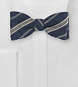 Wool Striped Bow Tie in Dark Navy and Beige