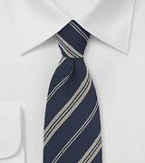 Dark Navy and Beige Striped Wool Tie