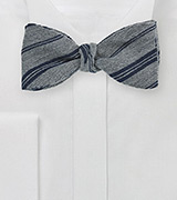 Wool Bow Tie in Gray with Navy Stripes
