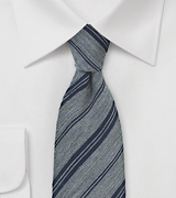 Stone Gray and Navy Striped Winter Tie