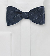 Pencil Stripe Wool Bow Tie in Navy