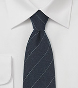 Midnight Blue Wool Tie with Fine Stripe Design