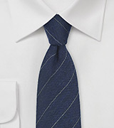 Wool Striped Tie in Navy Blue