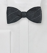 Charcoal Gray Wool Bow Tie with Pencil Stripe