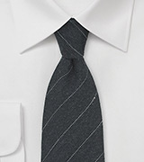 Pencil Striped Wool Tie in Dark Onyx Gray