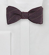 Mahogany Hued Wool Bow Tie with Pencil Stripe