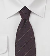 Mahogany Brown Wool Tie with Fine Stripe