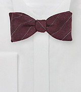 Deep Red Wool Bow Tie with Pencil Stripes