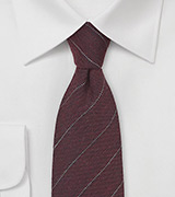 Wool Pencil Stripe Tie in Port Red