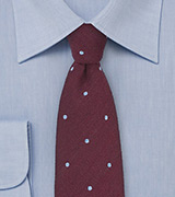 Wool Polka Dot Tie in Wine Red and Sky Blue
