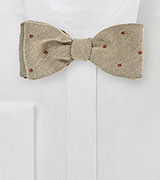 Sand Colored Wool Bow Tie with Red Dots
