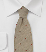 Sand Color Wool Tie with Copper Dots