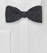 Smoke Gray Wool Bow Tie with Orange Dots