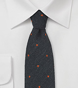 Wool Polka Dot Tie in Charcoal and Orange