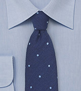 Elegant Wool Polka Dot Tie in Blue