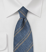 Steel Blue Linen Tie with Sand Colored Stripes
