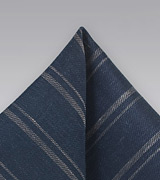 Striped Linen Pocket Square in Blue