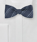 Dapper Blue Linen Bow Tie with Stripes