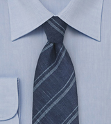 Trendy Linen Striped Tie in Blue