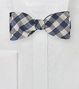 Gingham Check Bow Tie in Blue and Beige