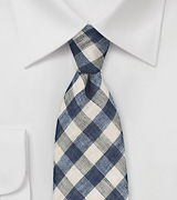 Blue and Beige Gingham Tie in Wool and Linen