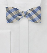 Light Blue and Tan Gingham Bow Tie
