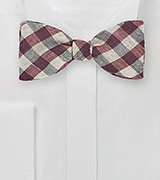 Gingham Wool Bow Tie in Wine Red and Tan