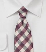 Linen and Wool Gingham Tie in Wine Red and Beige
