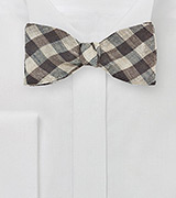 Wool Gingham Check Bow Tie in Brown