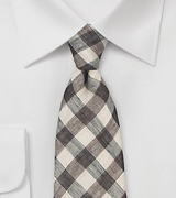 Wheat and Espresso Hued Gingham Tie