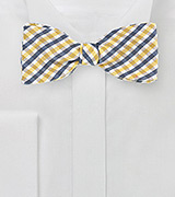 Summer Gingham Bow Tie in Yellow and Navy