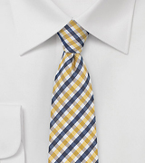 Seersucker Gingham Skinny Tie in Yellow and Blue