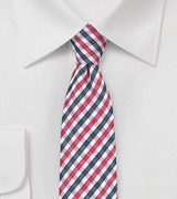 Red and Blue Micro Check Skinny Tie