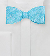 Turquoise Linen Bow Tie