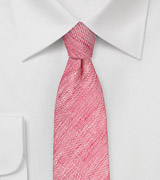 Bright Red Linen Skinny Tie