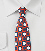 Retro Skinny Tie in Orange, White, and Blue