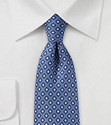 Diamond Check Tie in Classic Blue