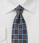 Trendy Medallion Wool Print Tie in Blue