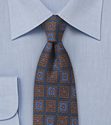 Wool Medallion Print Tie in Dark Navy