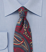 60s Paisley Wool Tie in Red and Blue