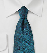 Metallic Teal Blue Textured Silk Tie
