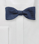 Silk Bow Tie in Metallic Blue